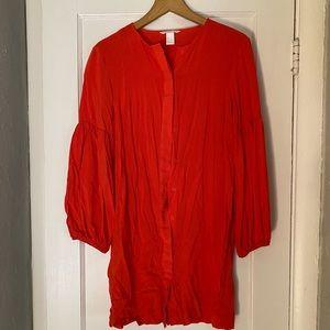 H&M Orange balloon sleeve dress
